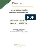 Manual de Instruções – Reclamação da Candidatura Eletrónica%2FConcurso Interno%2FExterno – 2013%2F2014