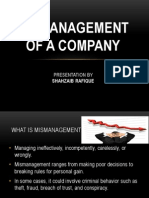 mismanagement of company
