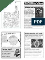 Children's Word bulletin for Sunday, June 9th, 2013