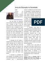 A importância da educação na sociedade, por Consília Rosa, Barro Alto-BA