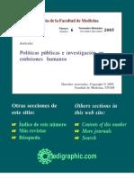 8. Políticas públicas e investigación en embriones humanos