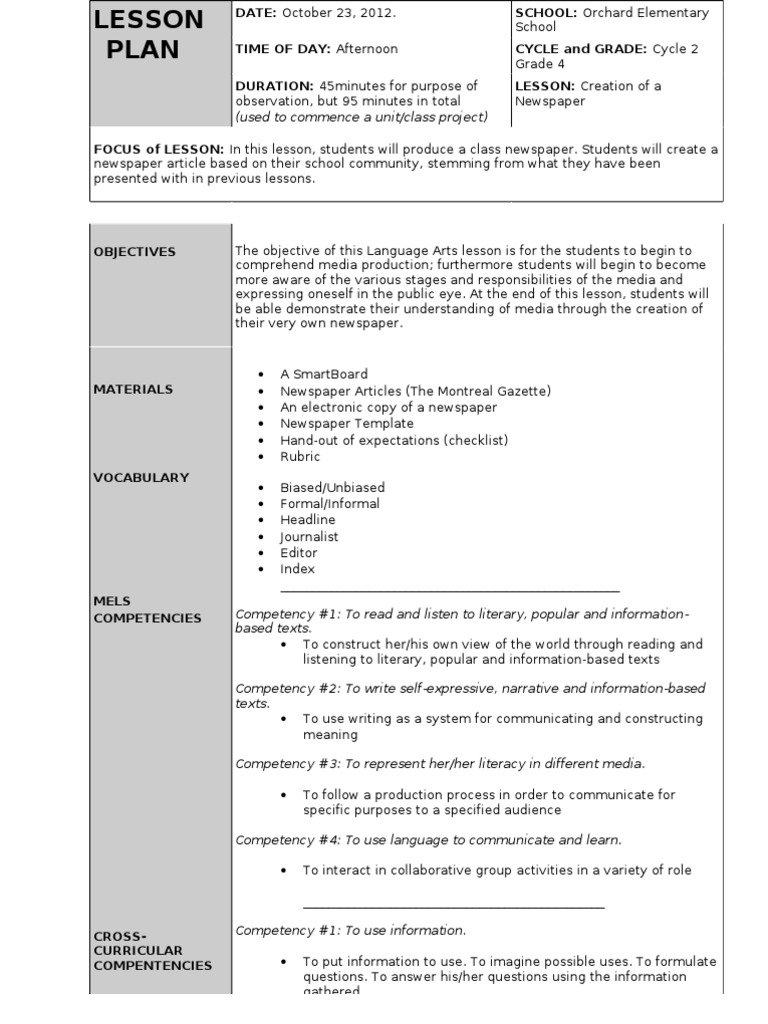 Lesson Plan - Newpaper  Newspapers  News
