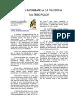 QUAL A IMPORTANCIA DA FILOSOFIA NA EDUCAÇÃO - Por Tamires Nascimento, Barro Alto-BA