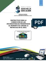 SACE - INSTRUCTIVO PARA LA CORRECCI+ôN DE LAS INCONSISTENCIAS PRESENTADAS AL MOMENTO DE CARGAR LA MATRICULA EN EL SACE.