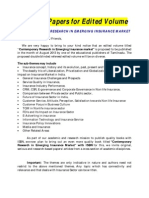 Call for Papers for Edited Volume-Insurance