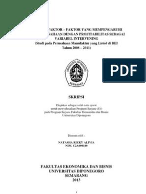 Contoh Skripsi Akuntansi Dengan Variabel Intervening Kumpulan Berbagai Skripsi
