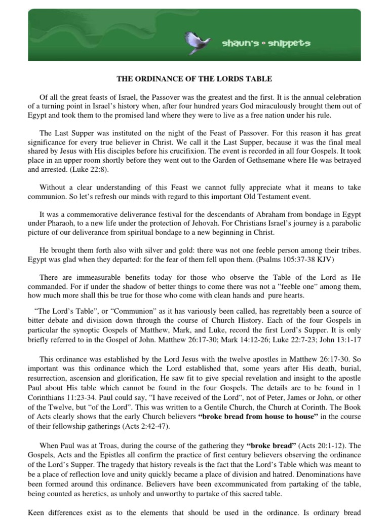 THE ORDINANCE OF THE LORDS TABLE | Last Supper | Eucharist