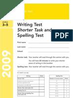 Ks2 English 2009 Writing Test Shorter Task Spelling Test