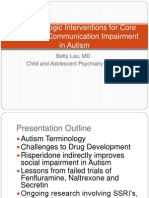 Pharmacologic Interventions for Core Social and Communication Impairment in Autism