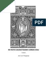 I Y II VÍSPERAS DEL SAGRADO CORAZÓN DE JESÚS. Forma Extraordinaria del Rito Romano