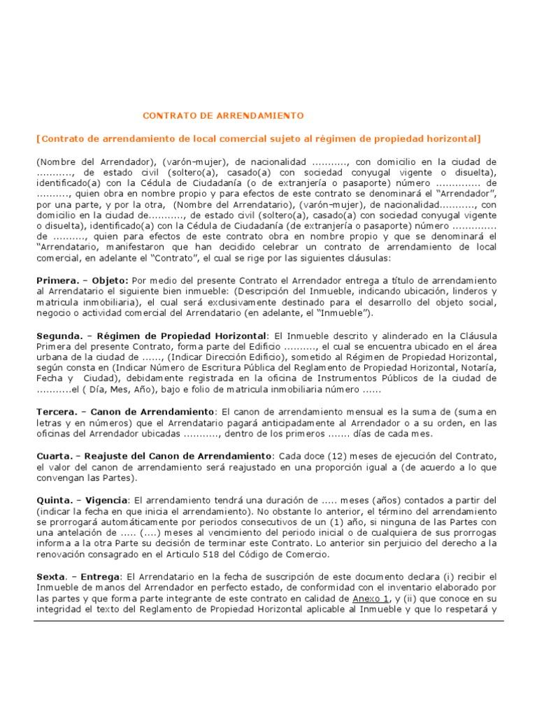 MODELO CONTRATOArrendamiento Local Comercial Propiedad Horizontal