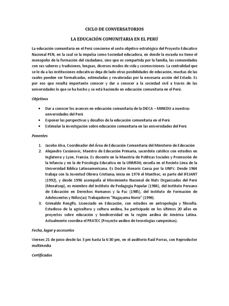 Propuesta De Conversatorios Sobre Educacion Comunitaria Docx Ciencia Peru