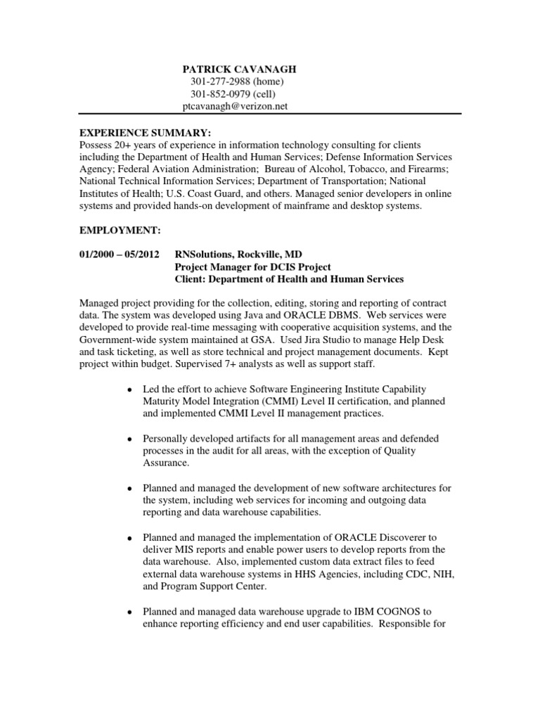 Information Technology Project Manager In Washington Dc Resume