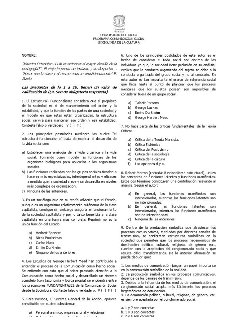 Imprimir Examen Sociología Interacciones De Disciplinas