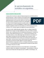Proyectos de aprovechamiento de energías renovables en argentina.