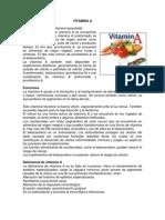 Vitamina, Funciones y Deficiencias