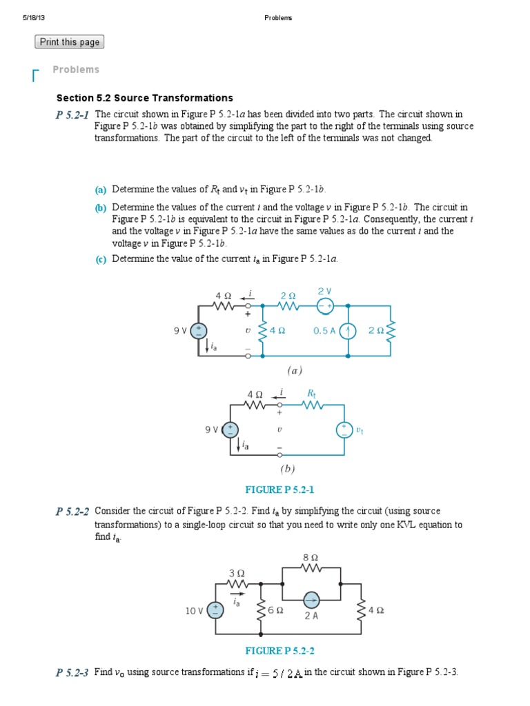 Problems 5 Circuit Wiley Electrical Network Resistor The Thevenin Equivalent Is Of B 1 R