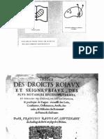 Indice Des Droicts Royaux Et Seigneuriaux Des Plus Notables Dictions, Termes, Et Phrases de l'Estat Et de La Justice.