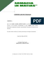 Certificado Trabajo Farmacia