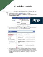 Darse de Baja o Eliminar Cuenta de Facebook