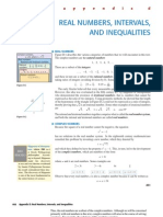 Real Numbers, Intervals and Inequalities