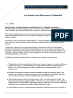 DNI Statement on Recent Unauthorized Disclosures of Classified Information