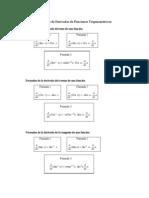 Formulas de Derivadas Funciones Trigonometricas