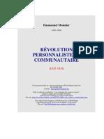 Emmanuel Mounier - Revolution Personnaliste Et Communautaire (235)