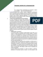 EL TALENTO PERSONAL DENTRO DE LA ORGANIZACIÓN