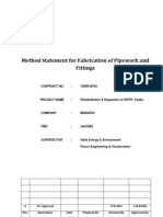 Method Statement for Fab of Pipework and Fittings