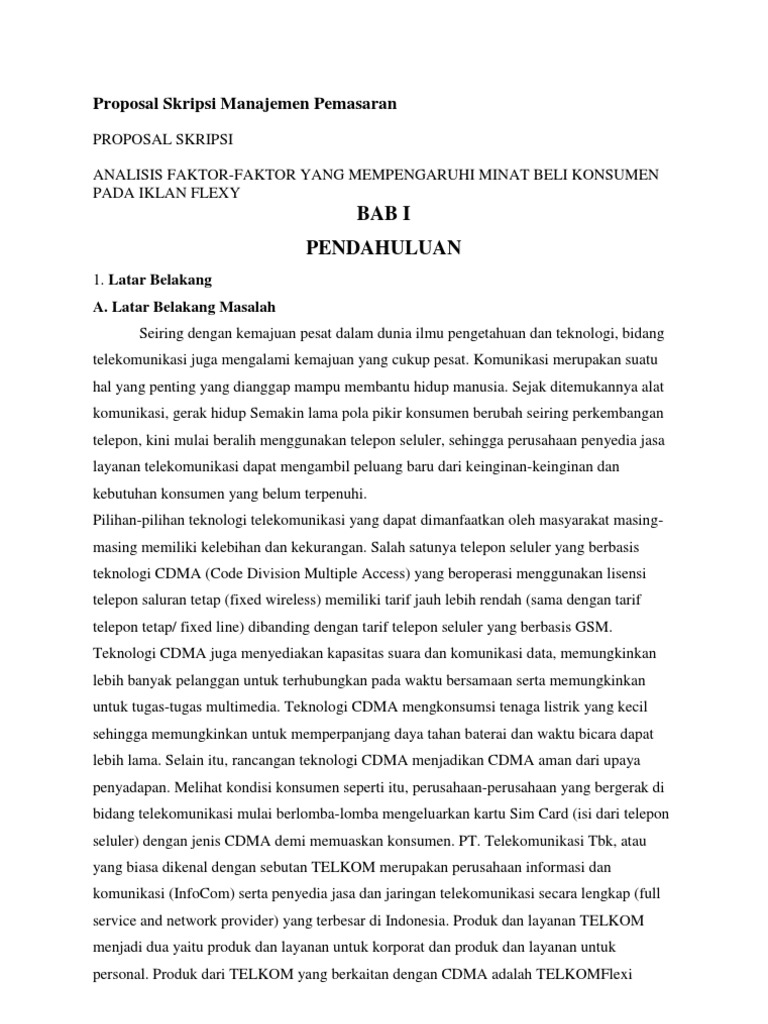 Latar Belakang Proposal Skripsi Manajemen Pemasaran Pejuang Skripsi