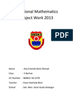 Additional Mathematics Project Work 2013