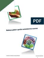 Mudança global e gestão sustentável de recursos