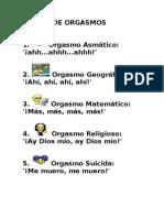 Clases de Orgasmos