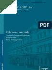 Relazione annuale sull'economia italiana pubblicata da Banca d'Italia 30-05-2013