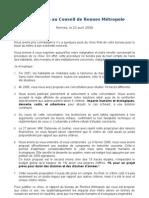 Intervention au Conseil de Rennes Métropole du 23 avril 2009