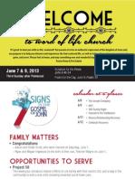 Church Bulletin for June 7 & 9, 2013