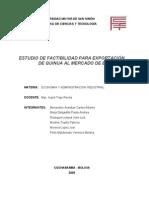 TRABAJO - ESTUDIO DE FACTIBILIDAD PARA EXPORTACIÓN DE QUINUA AL MERCADO DE EUROPA