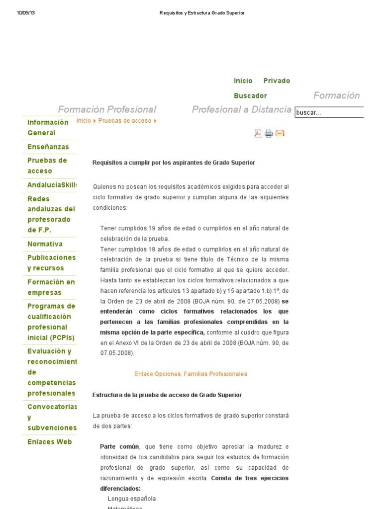 Requisitos Y Estructura Grado Superior Andalucia