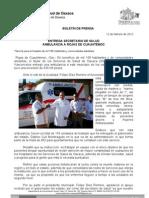 12/02/12 Germán Tenorio Vasconcelos  Secretario de Salud entrega Ambulancia a Rojas de Cuauhtemoc