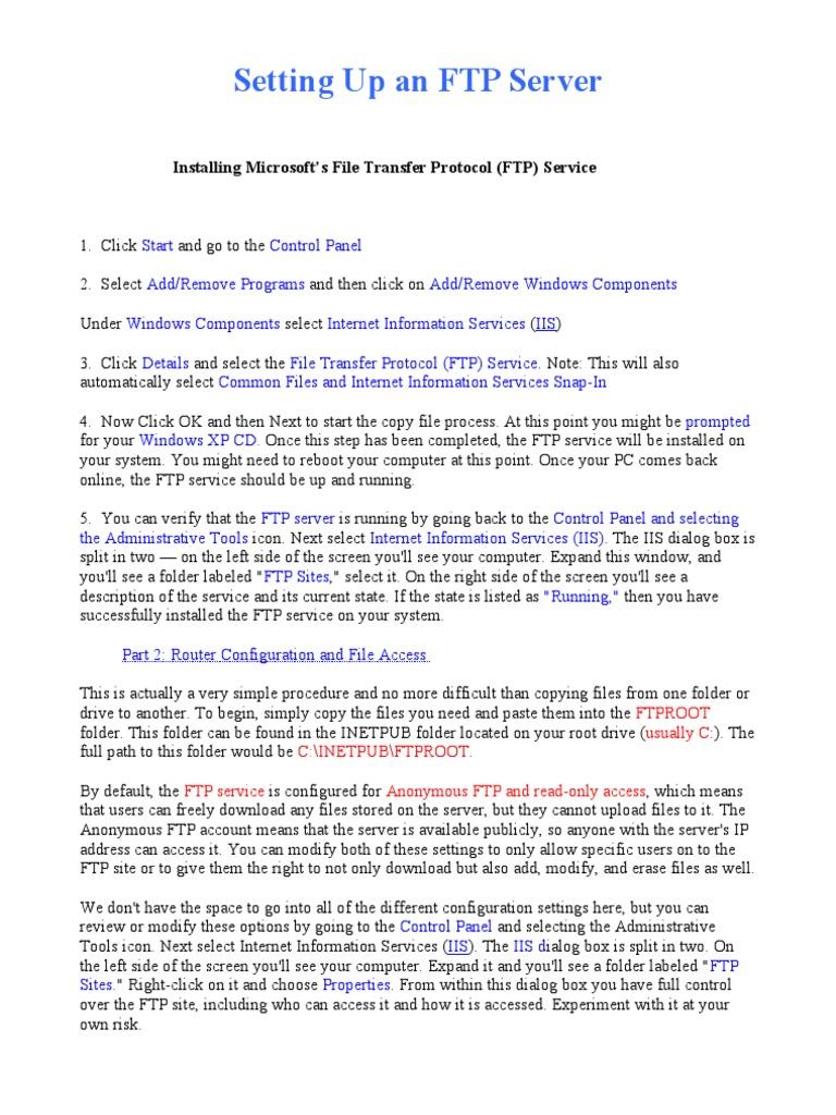 Setting Up an FTP Server | File Transfer Protocol | Port