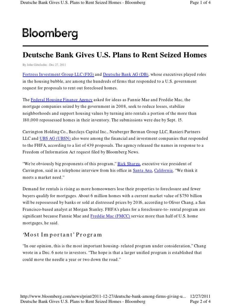 Deutsche Bank Gives U S  Plans to Rent Seized Homes pdf