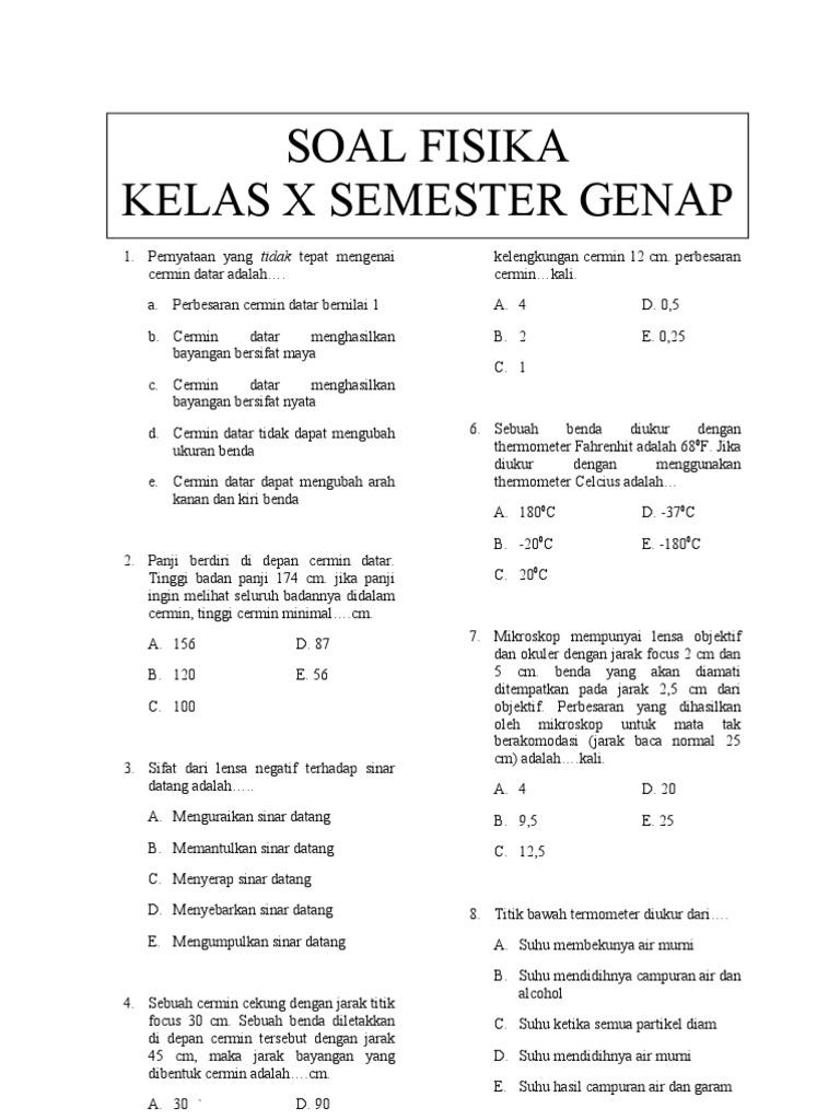 Ilmu Pengetahuan 2 Contoh Soal Fisika Kelas 10 Smk Semester 2
