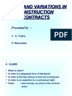 Claims and Variations in Construction Contracts