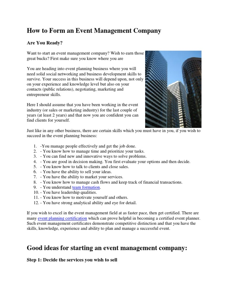 How To Form An Event Management Company Swot Analysis Business Plan