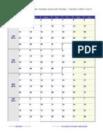 2013 Weekly Calendar Monday