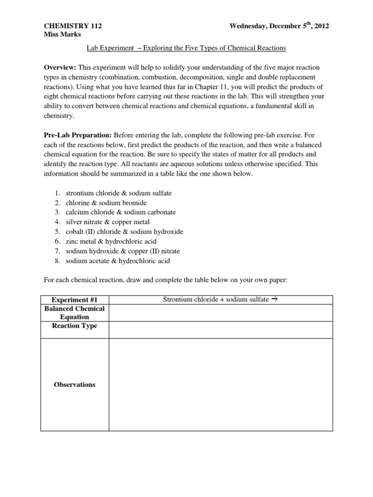 single replacement reaction worksheet