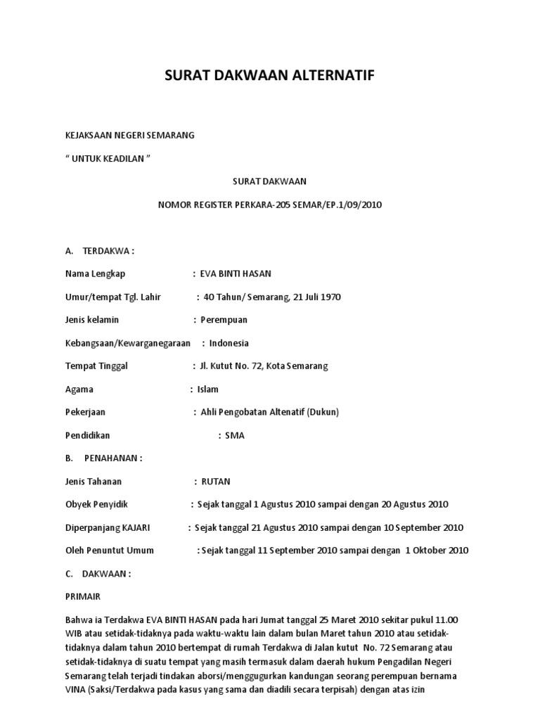 Contoh Surat Dakwaan Informasi Seputar Dunia Militer Dan