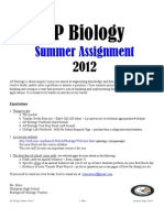 AP Biology Summer Assignment 2012