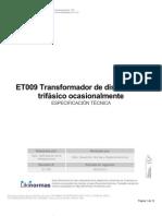 ET009 Transformador de distribución trifásico ocasionalmente sumergible,potencia 500 kVA